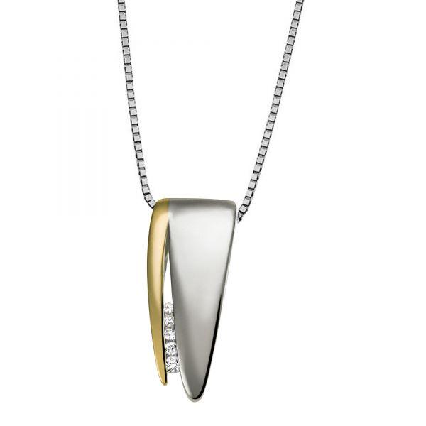 Goldmaid Collier Halskette 333 Weißgold 5 Diamanten zus. 0,05 ct.