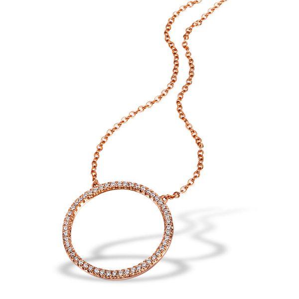 Collier Halskette 925 Sterlingsilber vergoldet 52 Zirkonia weiß Brillantschliff