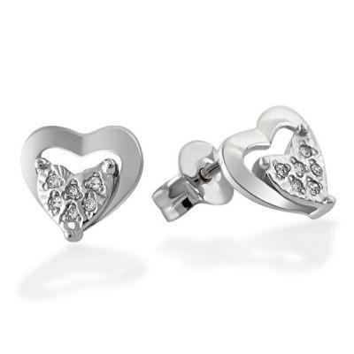 Paar Ohrstecker Herz 585/- Weißgold 12 Diamanten zus. 0,06 ct.