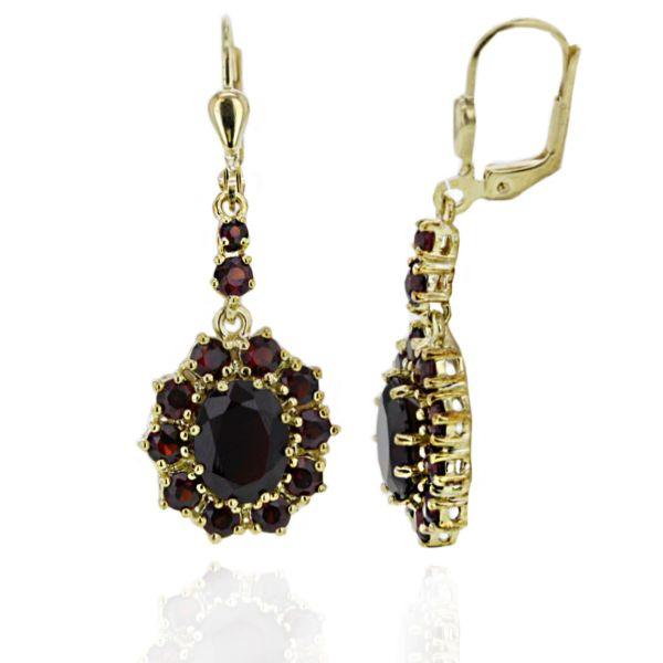 Paar Ohrhänger 333 Gelbgold Ohrringe 24 Granat Edelsteine