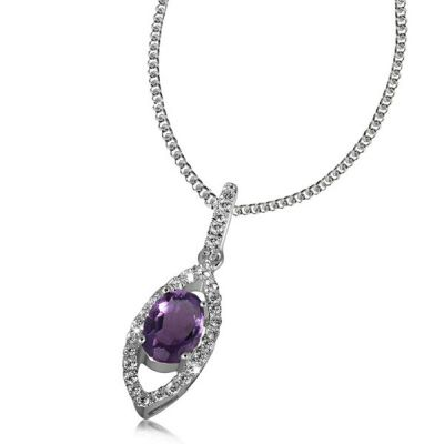 Collier Halskette 925 Silber 1 Amethyst Edelstein 32 Zirkonia Premium Shine