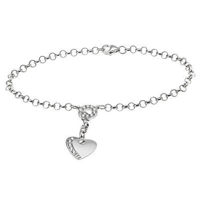 Armband Herz 925 Sterlingsilber 15 weiße Zirkonia
