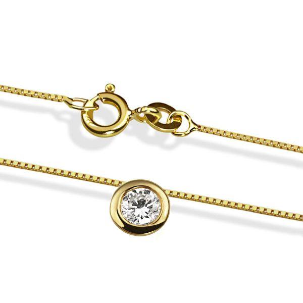 Collier Halskette Solitär 585 Gelbgold Brillant Lupenrein 0,25 ct.