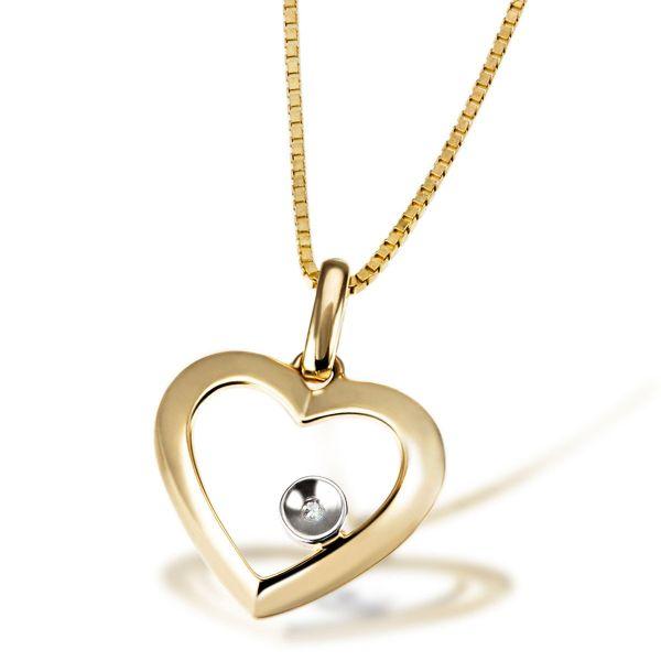 Collier Halskette Herz 375 Gelbgold Venezianerkette 1 Diamant 0,01 ct. SI1/H