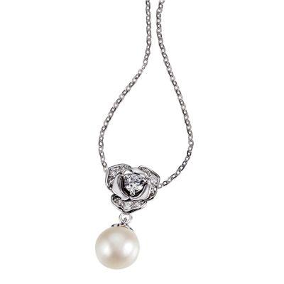 Collier Perlenblüte 585 Weißgold 1 weiße Perle 7-9 mm 10 weiße Zirkonia