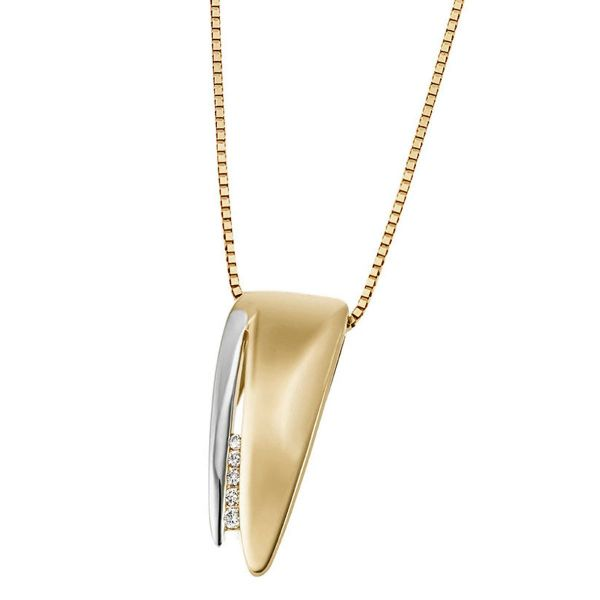 Collier Halskette 333 Gelbgold 5 Diamanten zus. 0,05 ct.