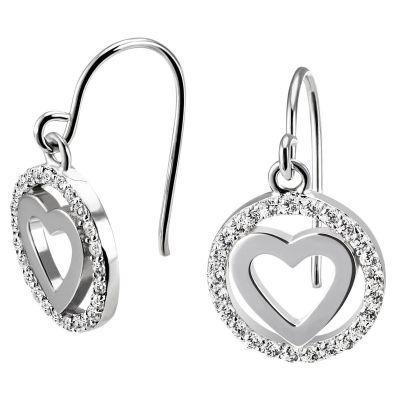 Paar Ohrhänger poliertes Herz 925 Silber 50 funkelnde Zirkonia