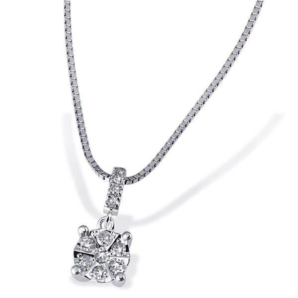 Collier Halskette Glamour 585 Weißgold 11 Diamanten zus. 0,10 ct.