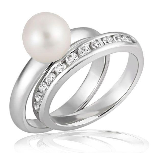 Damenringe 2er Set 925 Sterlingsilber 1x mit 11 klaren Zirkonia, 1x mit weißer Perle