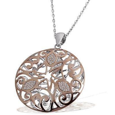 Collier Halskette Mandala 925 Silber rotvergoldet 108 Zirkonia weiß