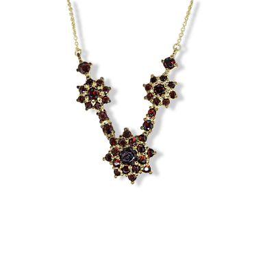 Collier Halskette 333 Gelbgold 40 Granat Edelsteine rot Trachtenschmuck