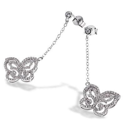 Paar Ohrhänger Schmetterling 925 Sterlingsilber 164 weiße Zirkonia