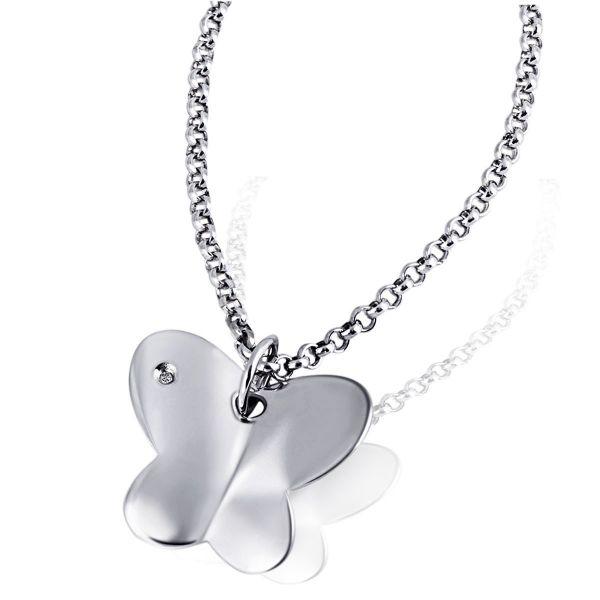 Collier Halskette Schmetterling 925 Sterlingsilber 1 Diamant 0,01 ct.