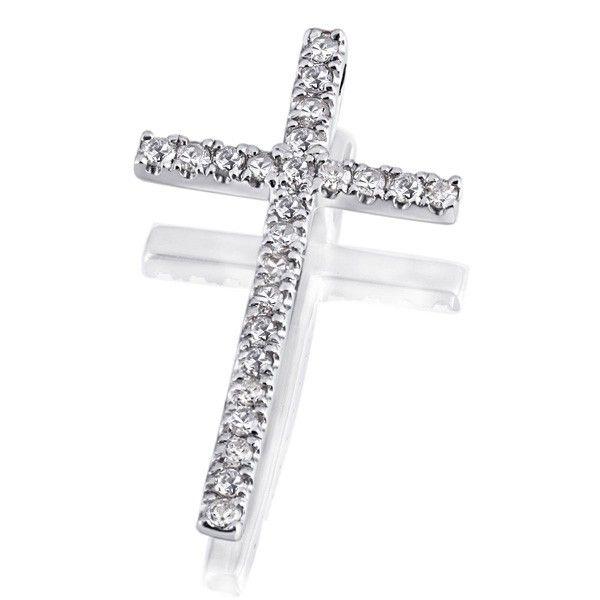 Anhänger Kreuz 585 Weißgold 24 Diamanten zus. 0,16 ct.