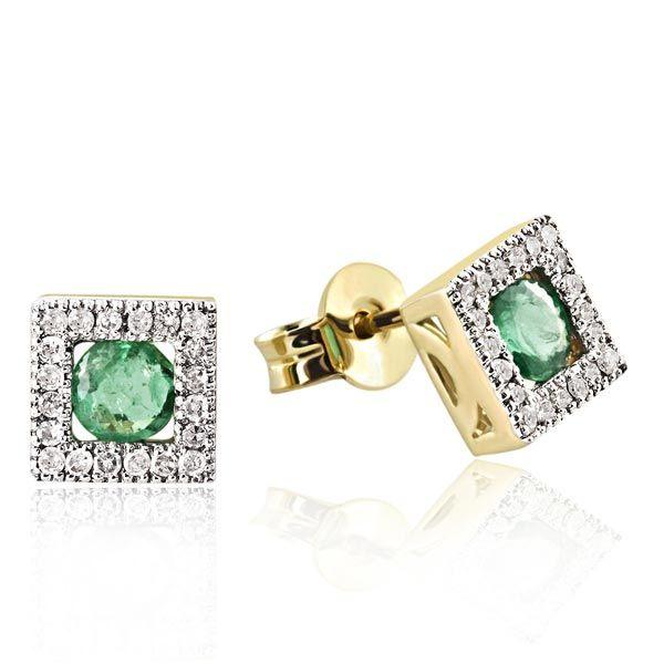Paar Ohrstecker 375 Gelbgold 40 Diamanten zus. 0,20 ct. P2/H, 2 Smaragde zus. 0,60 ct.